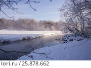 Купить «Пар над рекой», фото № 25878662, снято 26 января 2017 г. (c) Сергей Паникратов / Фотобанк Лори