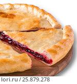Купить «Ossetian pie with cherry isolated on white», фото № 25879278, снято 22 июля 2018 г. (c) Ольга Сергеева / Фотобанк Лори