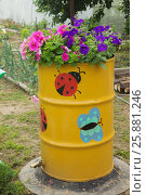 Купить «Старая железная бочка в садовом дизайне», фото № 25881246, снято 25 июня 2015 г. (c) Александр Романов / Фотобанк Лори