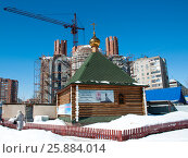 Строящийся Храм в честь Блаженной Матроны Московской в городе Уфе (2017 год). Редакционное фото, фотограф Сергей Тагиров / Фотобанк Лори
