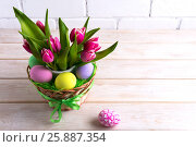 Купить «Easter table centerpiece with pastel color hand painted eggs», фото № 25887354, снято 5 марта 2017 г. (c) TasiPas / Фотобанк Лори