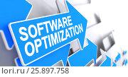 Купить «Software Optimization - Label on the Blue Pointer. 3D.», иллюстрация № 25897758 (c) Илья Урядников / Фотобанк Лори