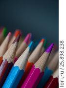 Купить «Macro view of sharpened colorful pencils», фото № 25898238, снято 19 марта 2017 г. (c) Pavel Biryukov / Фотобанк Лори