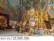 Interior of Russian orthodox cathedral of the Nativity of Christ in Riga, Latvia. Редакционное фото, агентство BE&W Photo / Фотобанк Лори