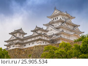 Купить «Himeji Castle, also called the white Heron castle, Japan. This is a UNESCO world heritage site in Japan», фото № 25905534, снято 16 июля 2018 г. (c) BE&W Photo / Фотобанк Лори