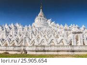 Купить «White pagoda of Hsinbyume aka Taj Mahal of Myanmar located in Mingun, Mandalay», фото № 25905654, снято 27 мая 2019 г. (c) BE&W Photo / Фотобанк Лори
