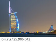 Купить «The luxurious and iconic Burj al Arab is the second tallest hotel in the world, situated on a man-made island off Dubai, United Arab Emirates», фото № 25906042, снято 19 ноября 2018 г. (c) BE&W Photo / Фотобанк Лори