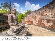 Купить «Meditating Buddha statue in Polonnaruwa Vatadage, Polonnaruwa, Sri Lanka», фото № 25906134, снято 16 октября 2018 г. (c) BE&W Photo / Фотобанк Лори