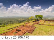 Купить «Garden On the top Sigiriya Rock Fortress, 5th Century Ruined Castle That Is Unesco Listed As A World Heritage Site In Sri Lanka», фото № 25906170, снято 23 июля 2019 г. (c) BE&W Photo / Фотобанк Лори