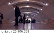 Купить «Subway trains arriving on rail station. Timelapse, people waiting for train.», видеоролик № 25906338, снято 28 сентября 2016 г. (c) Pavel Biryukov / Фотобанк Лори
