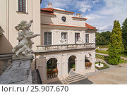 Купить «Decorative balcony of Palace and garden of Kozlowka, Zamoyski residence, Poland», фото № 25907670, снято 3 июля 2020 г. (c) BE&W Photo / Фотобанк Лори