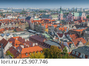 Купить «View from Castle tower on old town buildings and collegiate church in center of polish city Poznan, Poland», фото № 25907746, снято 3 августа 2020 г. (c) BE&W Photo / Фотобанк Лори