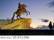 """Памятник Петру I (""""Медный всадник"""") на Сенатской площади ночью. Санкт-Петербург, фото № 25913090, снято 5 сентября 2016 г. (c) A Челмодеев / Фотобанк Лори"""