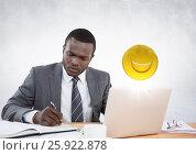Купить «Business man working at desk with emojis and flare against white wall», фото № 25922878, снято 19 февраля 2019 г. (c) Wavebreak Media / Фотобанк Лори