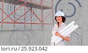 Купить «Architect woman beside 3D scaffolding», фото № 25923042, снято 21 июля 2018 г. (c) Wavebreak Media / Фотобанк Лори