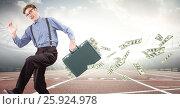 Купить «Business man on track with money falling out of briefcase against flares», фото № 25924978, снято 19 февраля 2019 г. (c) Wavebreak Media / Фотобанк Лори