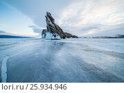 Панорамный вид на южную оконечность острова Огой, Малое Море, озеро Байкал зимой, Россия. Стоковое фото, фотограф Илья Бесхлебный / Фотобанк Лори