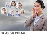 Купить «HR interviewing candidates through headphone against sky», фото № 25935326, снято 17 декабря 2018 г. (c) Wavebreak Media / Фотобанк Лори