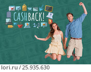 Купить «Couple jumping excitedly and Cashback text with drawings graphics», фото № 25935630, снято 19 марта 2019 г. (c) Wavebreak Media / Фотобанк Лори
