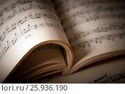 Купить «Open large music book close up», фото № 25936190, снято 8 апреля 2017 г. (c) Александр Калугин / Фотобанк Лори