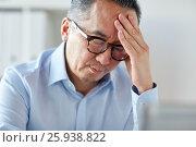 Купить «businessman suffering from headache at office», фото № 25938822, снято 16 декабря 2016 г. (c) Syda Productions / Фотобанк Лори