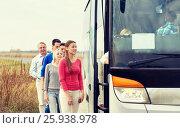Купить «group of happy passengers boarding travel bus», фото № 25938978, снято 21 октября 2015 г. (c) Syda Productions / Фотобанк Лори