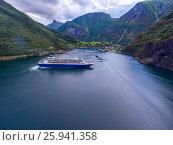 Купить «Cruise Ship, Cruise Liners On Sognefjord or Sognefjorden, Norway», фото № 25941358, снято 26 июля 2016 г. (c) Андрей Армягов / Фотобанк Лори