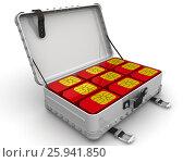Купить «Чемодан с красными SIM картами. Концепция», иллюстрация № 25941850 (c) WalDeMarus / Фотобанк Лори