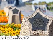 Купить «Галерея звезд с именами первых советских космонавтов на аллее Космонавтов (Москва)», фото № 25950670, снято 25 августа 2016 г. (c) Manapova Ekaterina / Фотобанк Лори