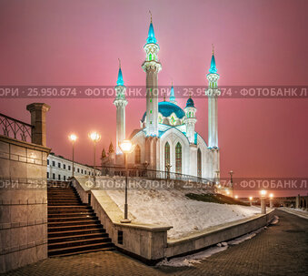 The Kul-Sharif Mosque in the Kazan Kremlin and the pink winter morning