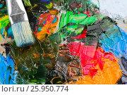 Купить «Various art oil paints on a wooden palette and a brush», фото № 25950774, снято 23 декабря 2016 г. (c) Надежда Рыбальченко / Фотобанк Лори