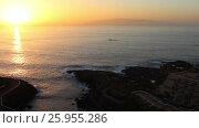 Закат над Атлантическим океаном и остров Гомера на горизонте. Тенерифе, Канары, Испания (2016 год). Стоковое видео, видеограф Кекяляйнен Андрей / Фотобанк Лори