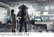 Scientists designing space suit. Mixed media . Mixed media, фото № 25956114, снято 27 апреля 2017 г. (c) Sergey Nivens / Фотобанк Лори