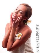 Купить «Female during luxurious procedure of massage», фото № 25964918, снято 19 ноября 2017 г. (c) easy Fotostock / Фотобанк Лори