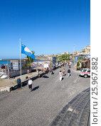 Купить «Голубой флаг на входе на пляж с вулканическим песком. Плая Фанабе (Playa Fanabe). Коста Адехе, Тенерифе, Канарские острова, Испания», фото № 25967882, снято 31 декабря 2015 г. (c) Кекяляйнен Андрей / Фотобанк Лори