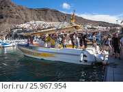 Туристы сходят с катера Маска Экспресс (Masca Express), доставившего их из ущелья Маска. Лос Гигантес (Los Gigantes). Тенерифе, Канары, Испания (2016 год). Редакционное фото, фотограф Кекяляйнен Андрей / Фотобанк Лори