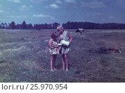 Советские старые фото. 1980 год, подмосковье, Москва, Девочки пьют парное молоко из крышки на лугу, в деревне, на даче. Редакционное фото, фотограф Наталия Преображенская / Фотобанк Лори
