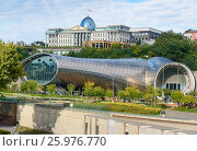 Купить «Presidential Palace of Georgia and Concert Music Theatre Exhibition Hall in Tibilisi, Georgia», фото № 25976770, снято 25 сентября 2016 г. (c) Elena Odareeva / Фотобанк Лори