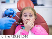 Купить «Young patient scared during a dental check-up», фото № 25981010, снято 11 декабря 2016 г. (c) Wavebreak Media / Фотобанк Лори