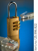 The concept of an encrypted Internet connection. Golden padlock., фото № 25996822, снято 14 апреля 2017 г. (c) Александр Якимов / Фотобанк Лори