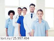 Купить «group of doctors and nurses at hospital», фото № 25997494, снято 14 марта 2015 г. (c) Syda Productions / Фотобанк Лори
