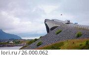 Купить «Atlantic Ocean Road Norwegian Construction of the Century», видеоролик № 26000062, снято 28 марта 2017 г. (c) Андрей Армягов / Фотобанк Лори