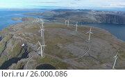 Купить «Windmills for electric power production Havoygavelen windmill park Norway», видеоролик № 26000086, снято 22 октября 2016 г. (c) Андрей Армягов / Фотобанк Лори