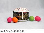 Купить «Кулич и крашеные яйца», эксклюзивное фото № 26000290, снято 24 августа 2016 г. (c) Вероника / Фотобанк Лори