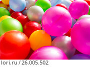 Купить «Multicolored plastic balls», фото № 26005502, снято 3 апреля 2017 г. (c) Олег Шеломенцев / Фотобанк Лори