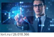 Купить «Businessman in artificial intelligence concept», фото № 26018366, снято 22 сентября 2019 г. (c) Elnur / Фотобанк Лори