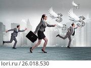 Купить «Businesspeople chasing angel investor funding», фото № 26018530, снято 22 ноября 2018 г. (c) Elnur / Фотобанк Лори