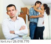Купить «Ex-lover watching girlfriend leaving him», фото № 26018770, снято 21 марта 2019 г. (c) Яков Филимонов / Фотобанк Лори
