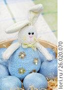 Купить «Игрушечный кролик и крашеные яйца голубого цвета», эксклюзивное фото № 26020070, снято 16 апреля 2017 г. (c) Dmitry29 / Фотобанк Лори