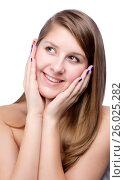 Купить «Close-up portrait of beautiful young woman», фото № 26025282, снято 27 января 2012 г. (c) Tatjana Romanova / Фотобанк Лори